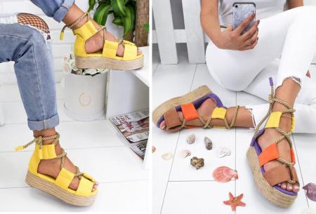 Lace up plateau sandalen voor dames met korting in de sale