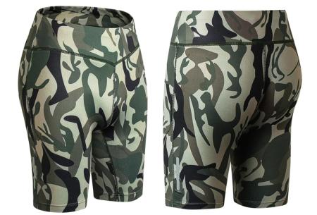 Fietsbroekje | Korte legging voor dames om in te sporten of te dragen als short Camo groen