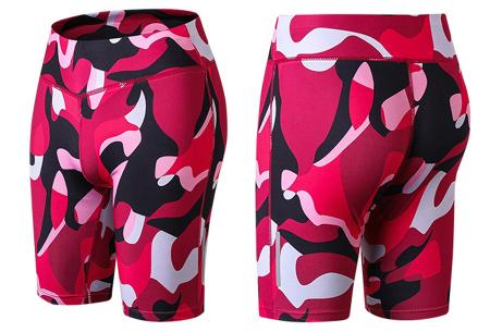 Fietsbroekje | Korte legging voor dames om in te sporten of te dragen als short Camo rood