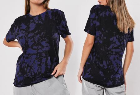 Tie-dye dames T-shirt | Terug van weggeweest en weer helemaal trendy! Navy