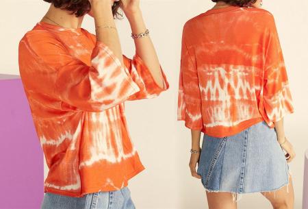 Tie-dye dames T-shirt | Terug van weggeweest en weer helemaal trendy! Oranje