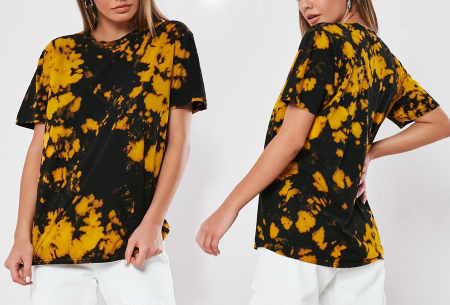 Tie-dye dames T-shirt | Terug van weggeweest en weer helemaal trendy! Geel