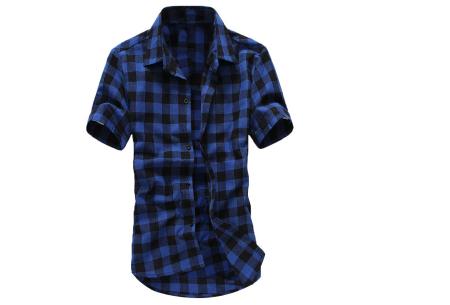 Houthakkers blouse voor heren | Geblokt overhemd met korte mouwen Donkerblauw