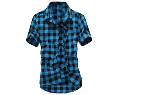 Houthakkers blouse voor heren | Geblokt overhemd met korte mouwen Lichtblauw