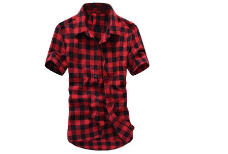 Houthakkers blouse voor heren | Geblokt overhemd met korte mouwen Rood
