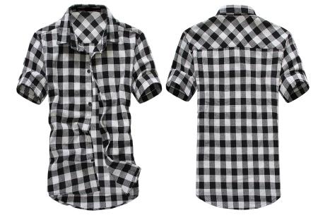 Houthakkers blouse voor heren | Geblokt overhemd met korte mouwen Zwart