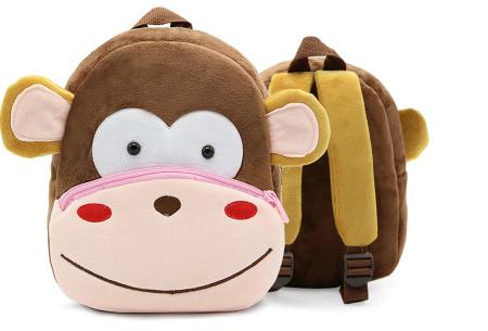 Kinderrugzak met dier + GRATIS drinkbeker | Schattige schooltas voor kinderen - keuze uit 15 dieren aap