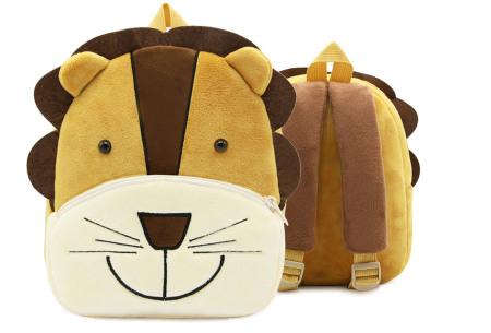 Kinderrugzak met dier + GRATIS drinkbeker | Schattige schooltas voor kinderen - keuze uit 15 dieren leeuw
