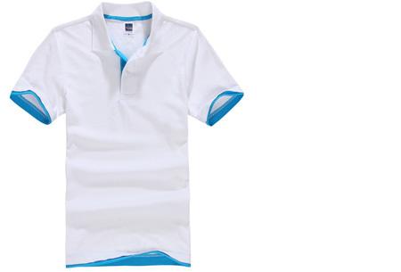 Polo's voor heren | SUPER AFPRIJZING - Slechts 7,95 per poloshirt!  #1 - Wit/lichtblauw