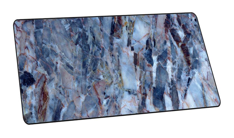 XL muismat met marmerlook Blauw - 40 x 90 cm