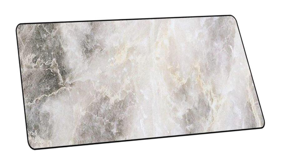 XL muismat met marmerlook Grijs - 40 x 90 cm