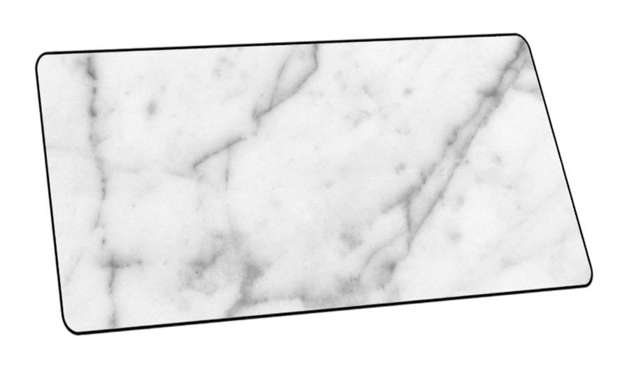 XL muismat met marmerlook Wit - 40 x 90 cm