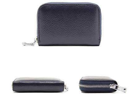 Mini portemonnee | Compacte dames portefeuille van PU leder met RFID anti-skim beveiliging Donkerblauw