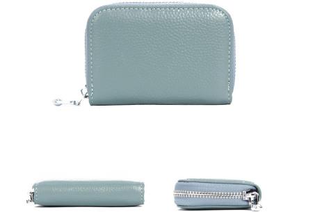 Mini portemonnee | Compacte dames portefeuille van PU leder met RFID anti-skim beveiliging Lichtblauw