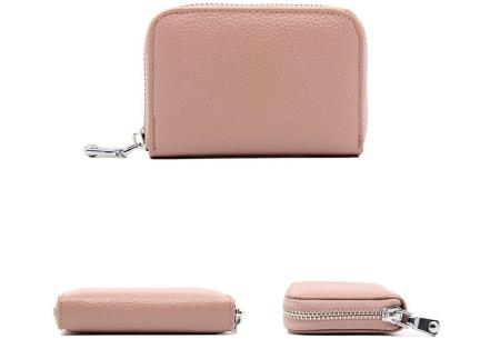 Mini portemonnee | Compacte dames portefeuille van PU leder met RFID anti-skim beveiliging Nude