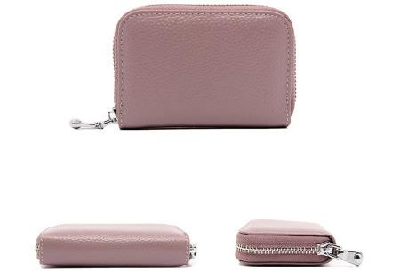 Mini portemonnee | Compacte dames portefeuille van PU leder met RFID anti-skim beveiliging Paars