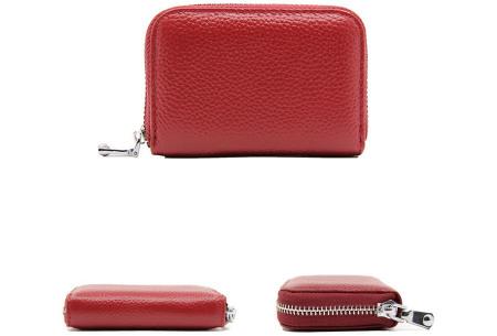 Mini portemonnee | Compacte dames portefeuille van PU leder met RFID anti-skim beveiliging Wijnrood