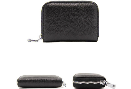 Mini portemonnee | Compacte dames portefeuille van PU leder met RFID anti-skim beveiliging Zwart