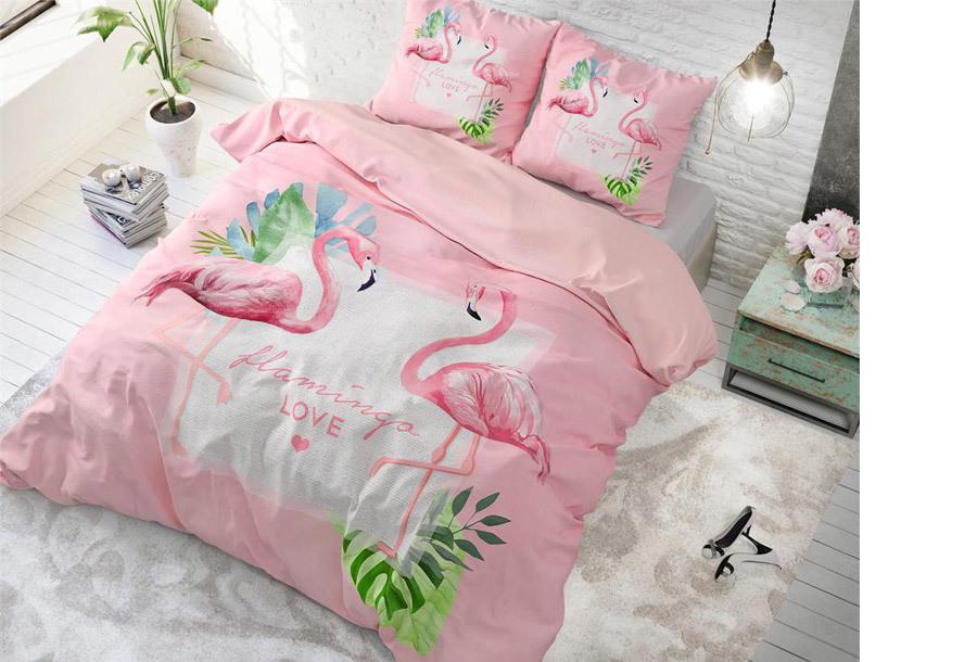 Dreamhouse dekbedovertrek Maat 240 x 200/220 cm - Sunny flamingo's - roze