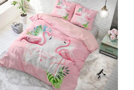 Katoenen dekbedovertrekken van Dreamhouse | In 9 hippe uitvoeringen Sunny flamingo's - roze