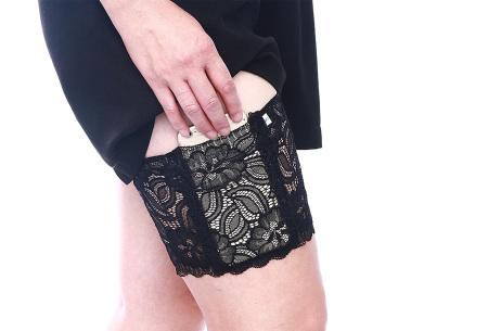 Kanten anti-schuur kousenband met telefoonvak | Met anti-slip strips A - Zwart