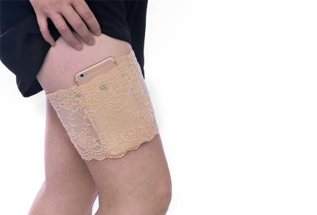 Kanten anti-schuur kousenband met telefoonvak | Met anti-slip strips B - Beige