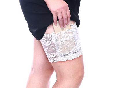 Kanten anti-schuur kousenband met telefoonvak | Met anti-slip strips B - Wit