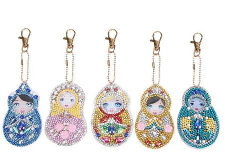 Diamond painting sleutelhangers | Compleet doe-het-zelf pakket met 3, 4, 5 of 6 sleutelhangers - Kies uit 15 sets J