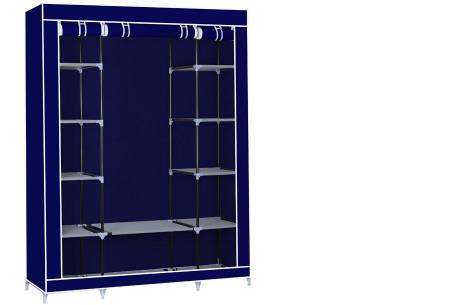 Herzberg opberggarderobe | Multifunctionele kledingkast met stevig stalen frame en sterke stof groot-blauw