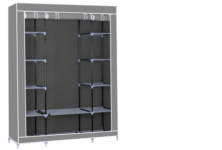 Herzberg opberggarderobe | Multifunctionele kledingkast met stevig stalen frame en sterke stof groot-grijs