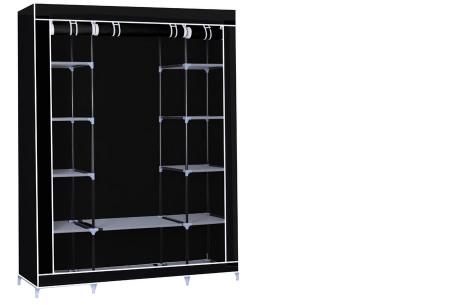 Herzberg opberggarderobe | Multifunctionele kledingkast met stevig stalen frame en sterke stof groot-zwart