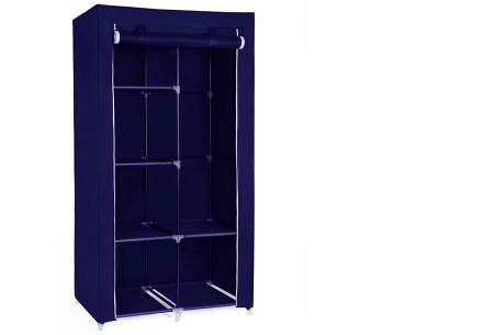 Herzberg opberggarderobe | Multifunctionele kledingkast met stevig stalen frame en sterke stof klein-blauw