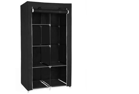 Herzberg opberggarderobe | Multifunctionele kledingkast met stevig stalen frame en sterke stof klein-zwart