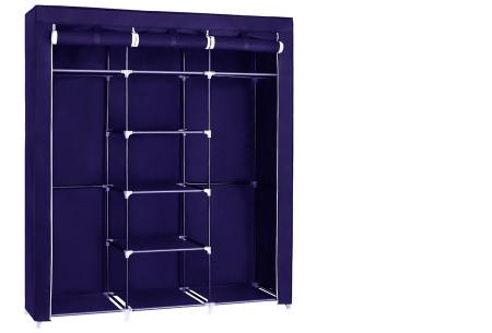 Herzberg opberggarderobe | Multifunctionele kledingkast met stevig stalen frame en sterke stof middel-blauw