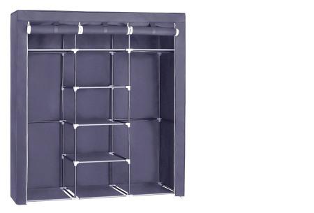 Herzberg opberggarderobe | Multifunctionele kledingkast met stevig stalen frame en sterke stof middel-grijs
