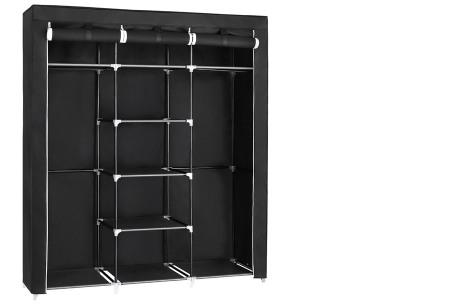 Herzberg opberggarderobe | Multifunctionele kledingkast met stevig stalen frame en sterke stof middel-zwart