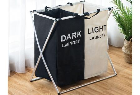 Wasmand met meerdere vakken | Sorteer al je wasgoed op kleur Zwart-Beige