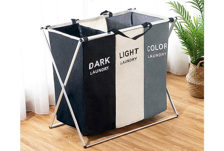 Wasmand met meerdere vakken | Sorteer al je wasgoed op kleur Zwart-Beige-Grijs