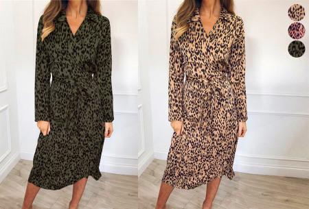 Maxi jurk met luipaardprint met korting in de sale