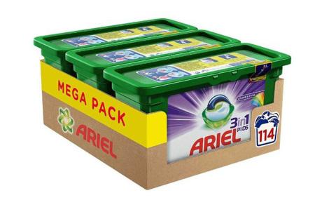 Megapack Ariel 3-in-1 pods - keuze uit Regular of Color   Ongekend veel wasbeurten voor een klein prijsje