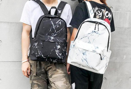 Rugtas met marmerlook | Trendy rugzak van canvas - perfect voor naar school, werk of vakantie