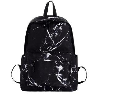Rugtas met marmerlook | Trendy rugzak van canvas - perfect voor naar school, werk of vakantie Zwart