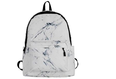Rugtas met marmerlook | Trendy rugzak van canvas - perfect voor naar school, werk of vakantie Wit