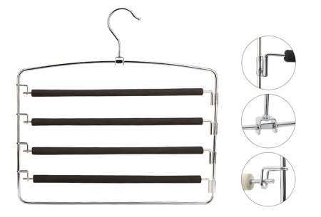 Ruimtebesparende kledinghangers   Laat je kleding netjes en geordend in je kast hangen Broekhanger