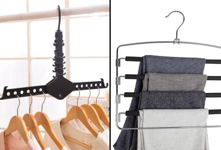 Ruimtebesparende kledinghangers in de aanbieding