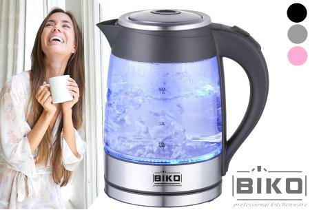 Biko glazen waterkoker met LED verlichting - Nu in de aanbieding
