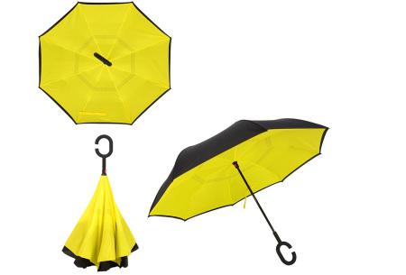 Omkeerbare paraplu | Met deze stormparaplu ben je altijd voorbereid op de regen! Geel