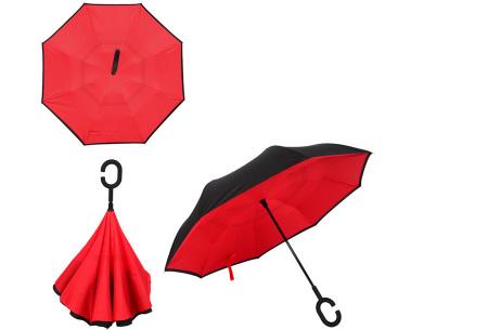Omkeerbare paraplu | Met deze stormparaplu ben je altijd voorbereid op de regen! Rood