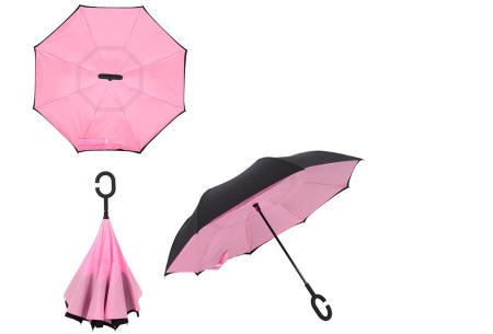 Omkeerbare paraplu | Met deze stormparaplu ben je altijd voorbereid op de regen! Roze