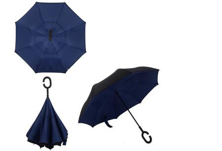 Omkeerbare paraplu | Met deze stormparaplu ben je altijd voorbereid op de regen! Donkerblauw